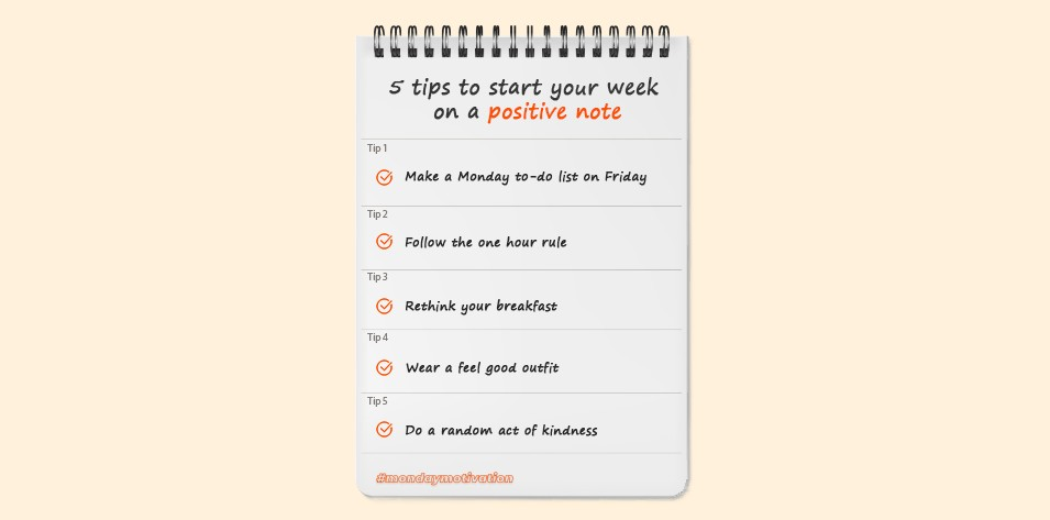 5 Tips to start your week on a positive note