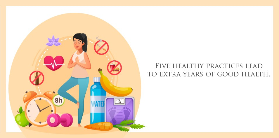 Five healthy practices lead to extra years of good health