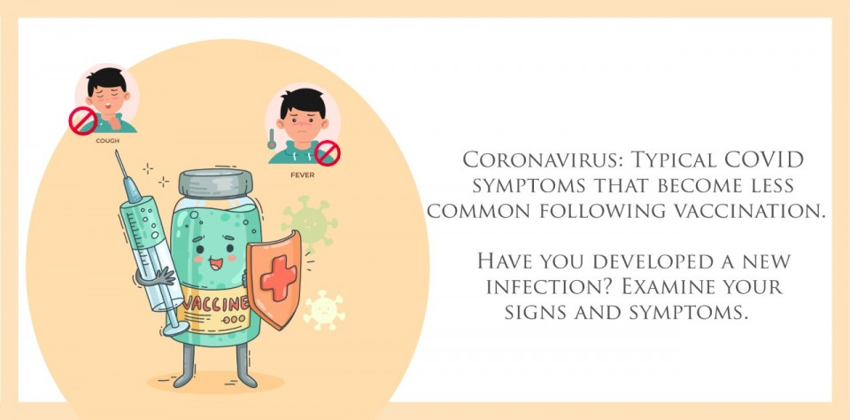 Coronavirus: Typical COVID symptoms that become less common following vaccination.  Have you developed a new infection? Examine your signs and symptoms.