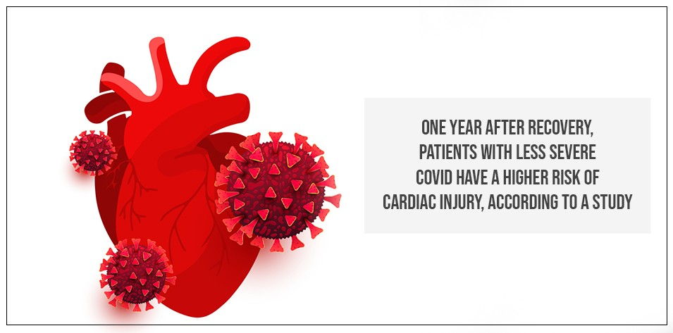 One year after recovery, patients with less severe COVID have a higher risk of cardiac injury, according to a study